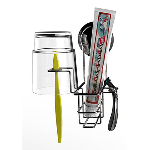 chrome suction single toothbrush holder 700002