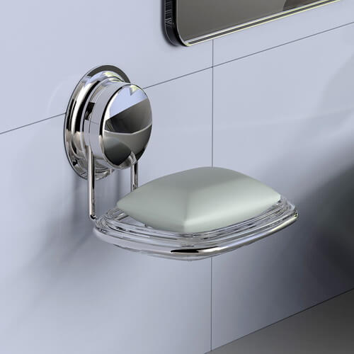 stainless steel suction soap dish 700014 using