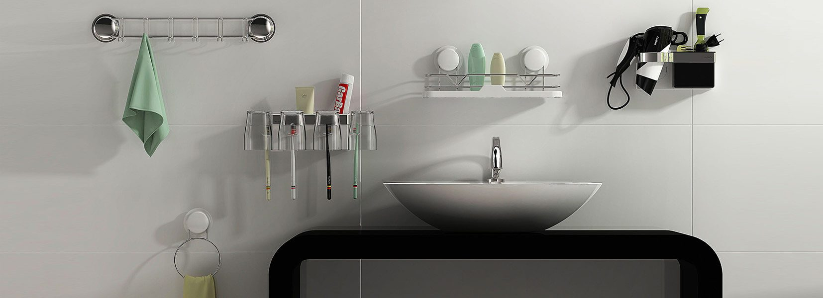 suction bathroom accessories banner